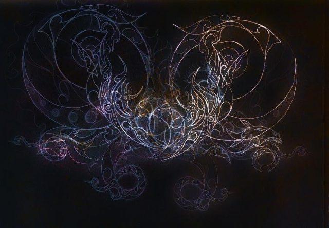 Ornamental dragon tattoo drawing on black background jozef klopacka