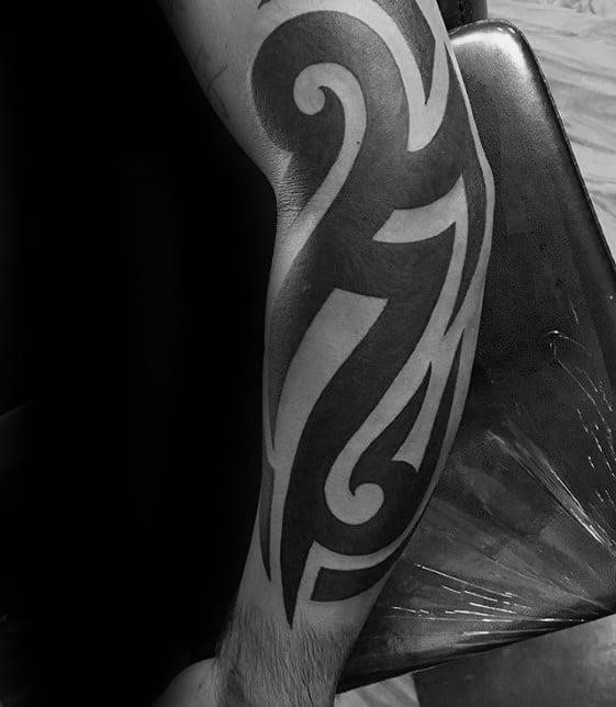 Outer forearm sick bold black ink mens traditional tribal tattoo ideas