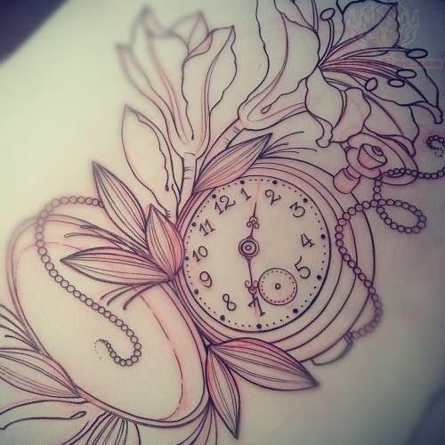 Outline clock tattoo design