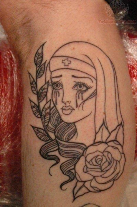 Outline nurse and rose tattoo