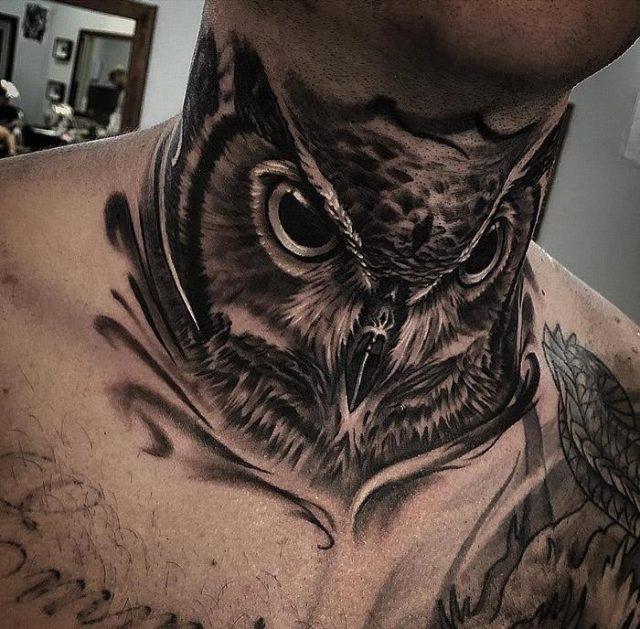Owl guys neck tattoo