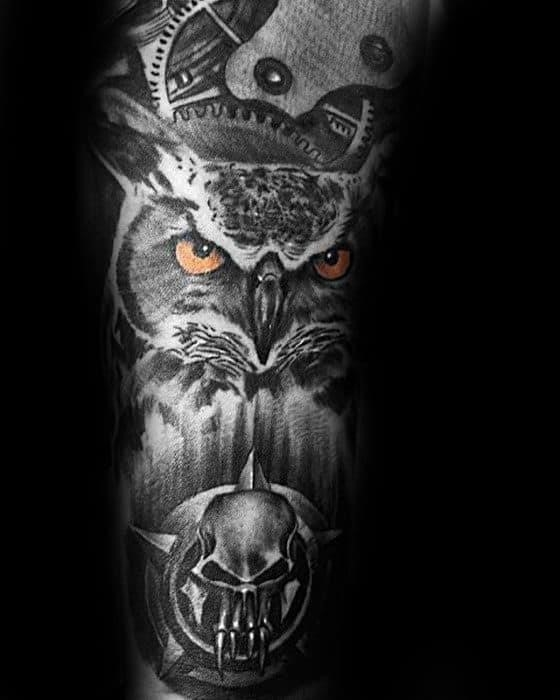 Owl with orange eyes mens cool shaded inner forearm sleeve tattoo
