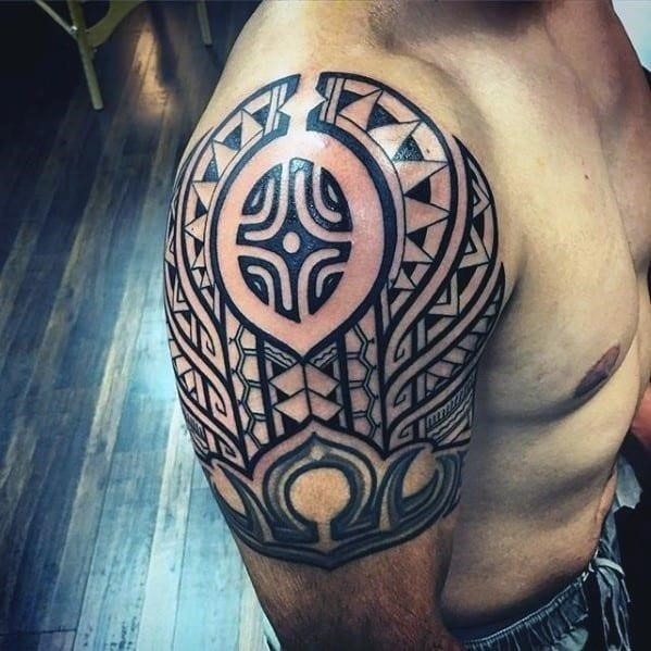 Pattern guys polynesian tribal tattoo on arm