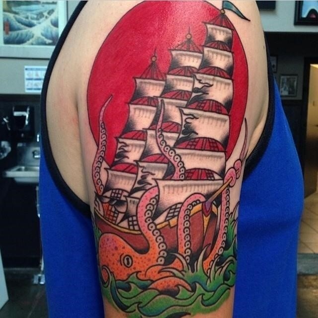 Pirate ship tattoo 2