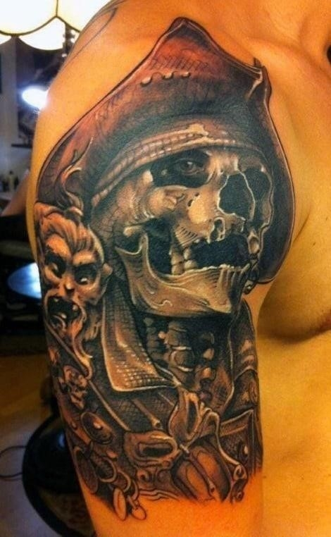 Pirate style mens tattoos