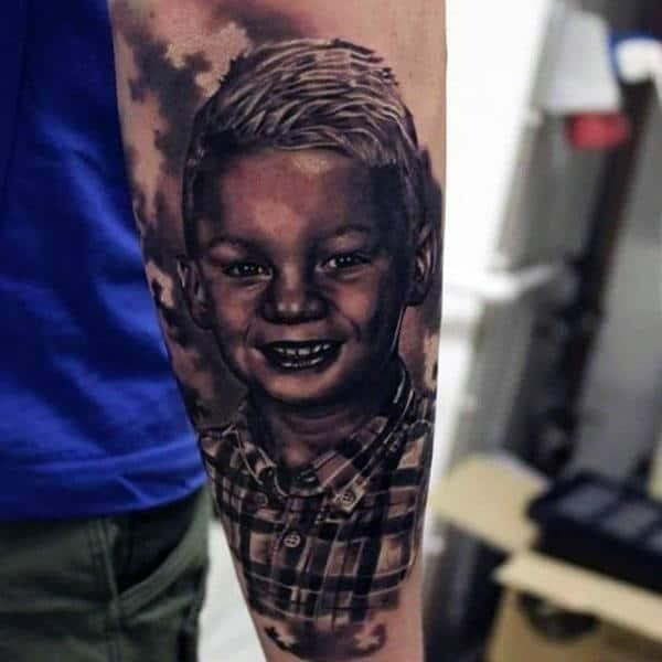 Potrait father and son tattoo designs for guys