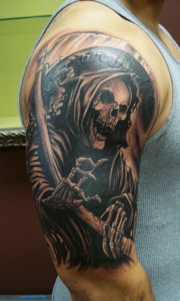 Preying grim reaper tattoo for men