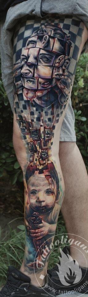Puzzle full leg tattoo