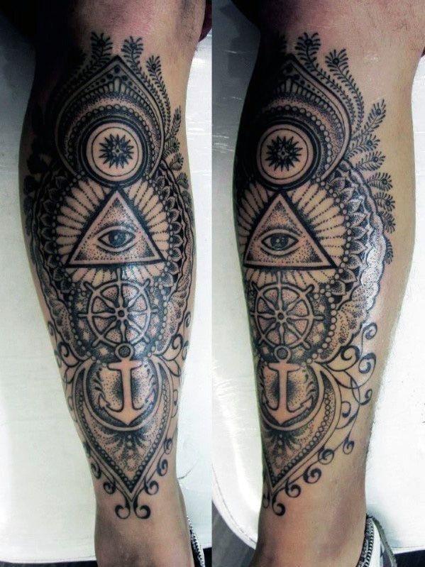 Pyramid eye leg tattoo for men