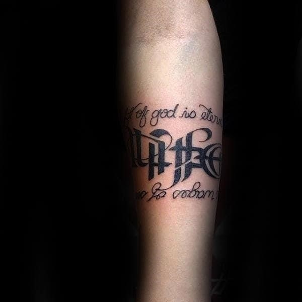 Quote life death ambigram mens forearm tattoos