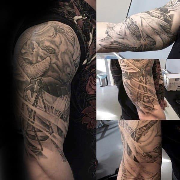 Ram with libra scale mens half sleeve tattoos