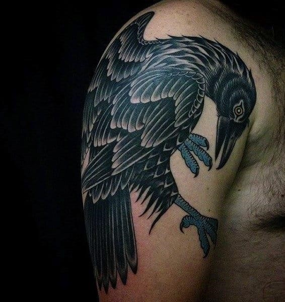 Raven checking its claws tattoo mens arms