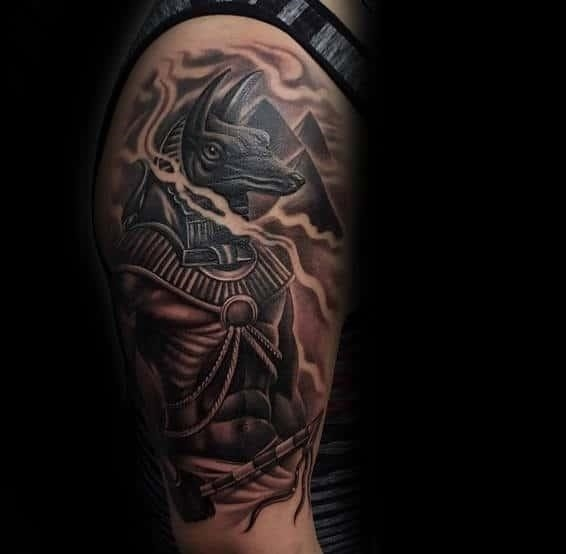 Realistic anubis ancient egyptian god arm tattoo for guys