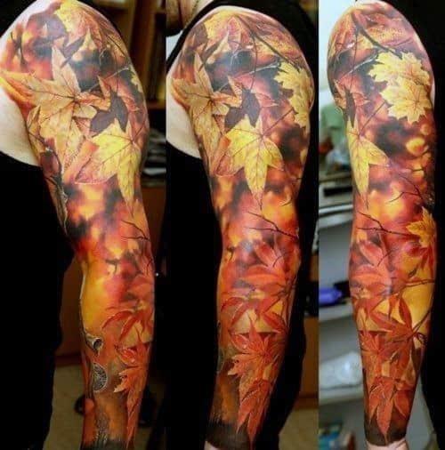 Realistic fall sleeve maple leaf tattoos for men