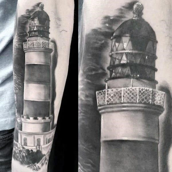 Realistic lighthouse male tattoo grey shading