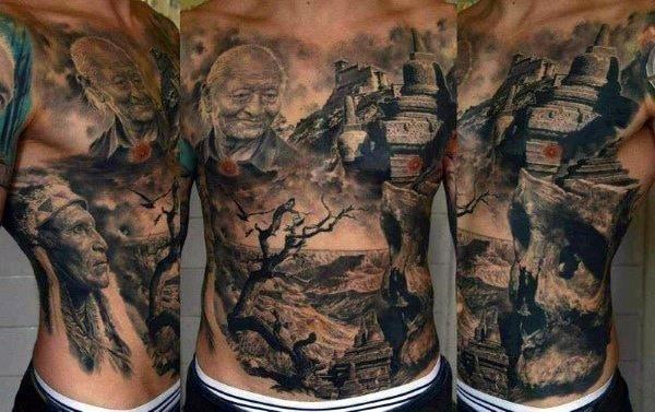 Realistic men stomach tattoos