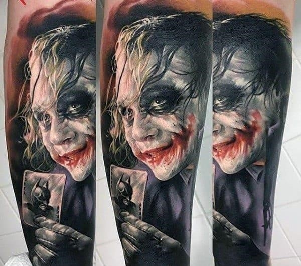Realistic mens joker sleeve tattoos
