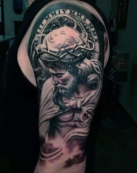 Realistic religious male sleeve tattoo