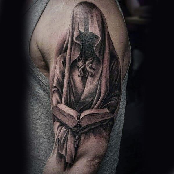 Religious veiled lady reading holy book tattoo mens upper arms