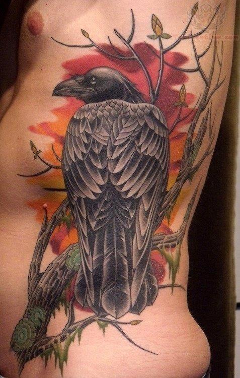 Rib side raven tattoo for men