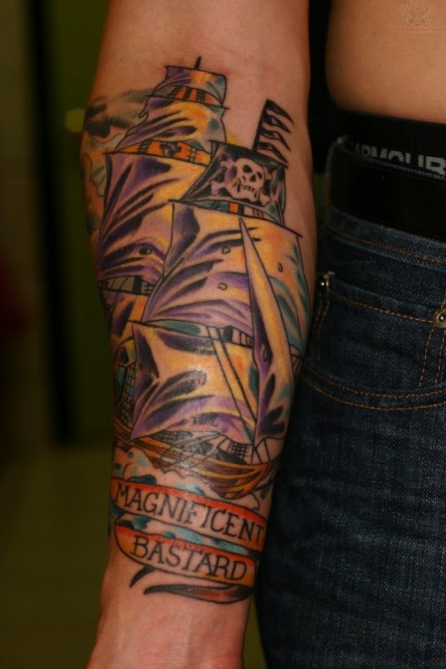 Right sleeve pirate ship tattoo