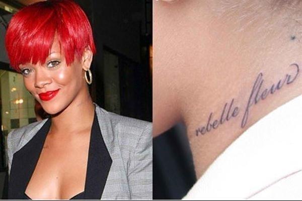 Rihanna tattoos neck