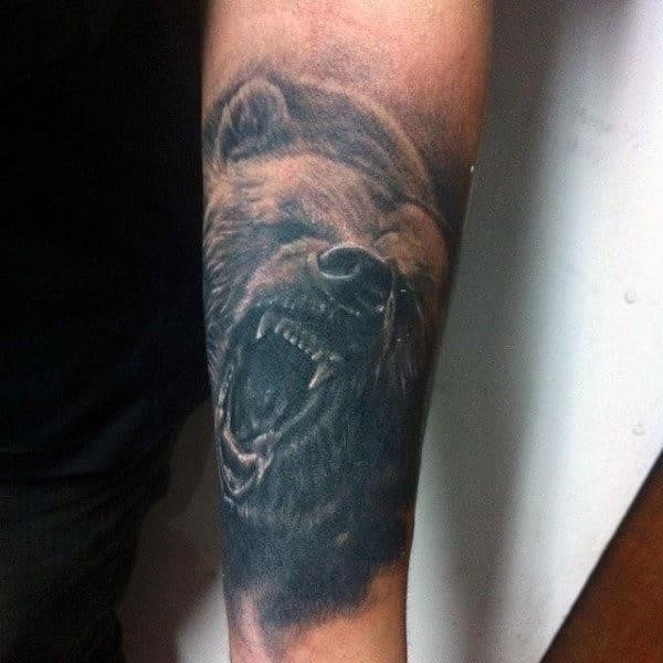 Roaring grizzly bear male animal tattoos on forearm
