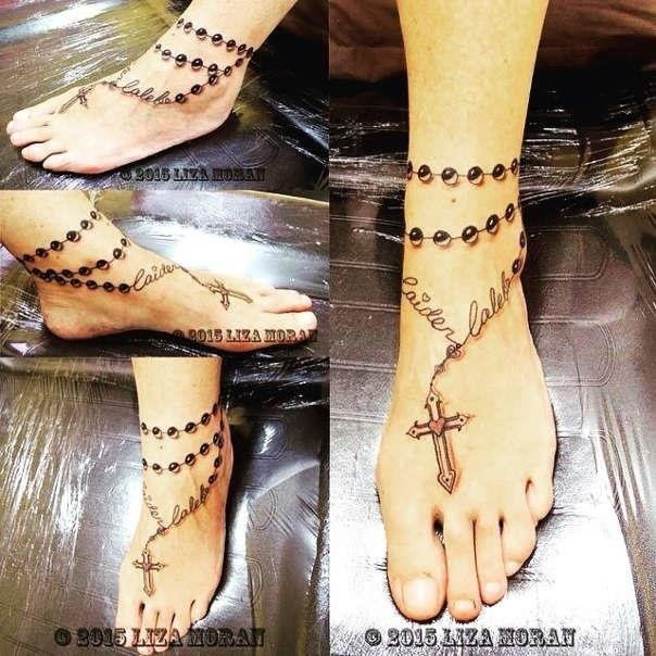 Rosary ankle tattoos featured