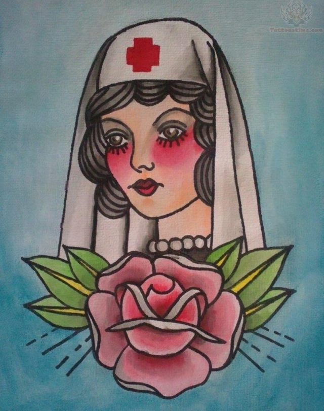 Rose and nurse tattoo designs