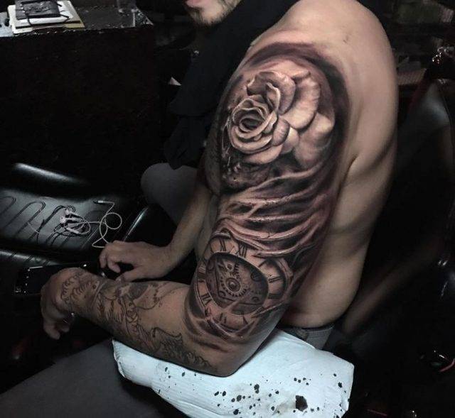 Rose clock mens arm tattoo