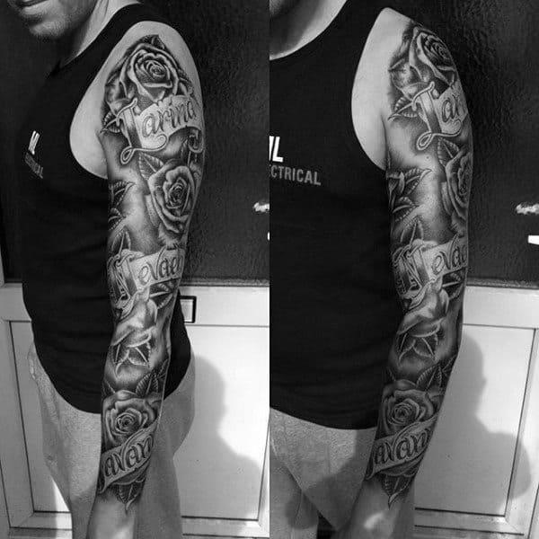 Rose flower mens full sleeve name tattoo with banner design