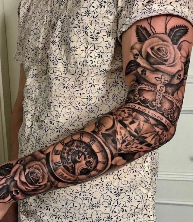 Roses crown pocket watch sleeve tattoo roman numeral tattoos meaning white floral shirt