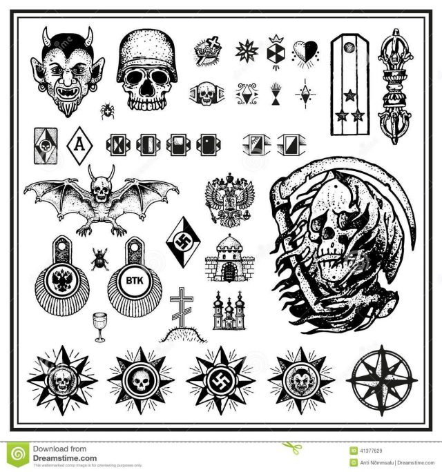 Russian criminal finger tattoos isolated light background 41377629