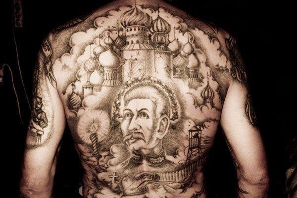 Russian prisoners back tattoo