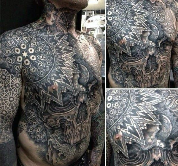 Sacred geometry mens stomach tattoos with skull design