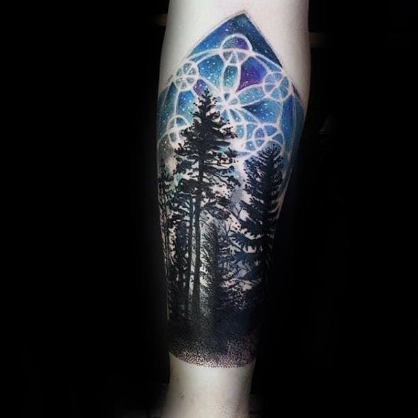 Sacred geometry night sky male forest tattoos