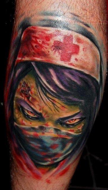 Scary nurse face tattoo