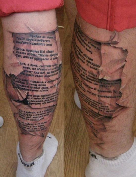 Scripture leg tattoo for men