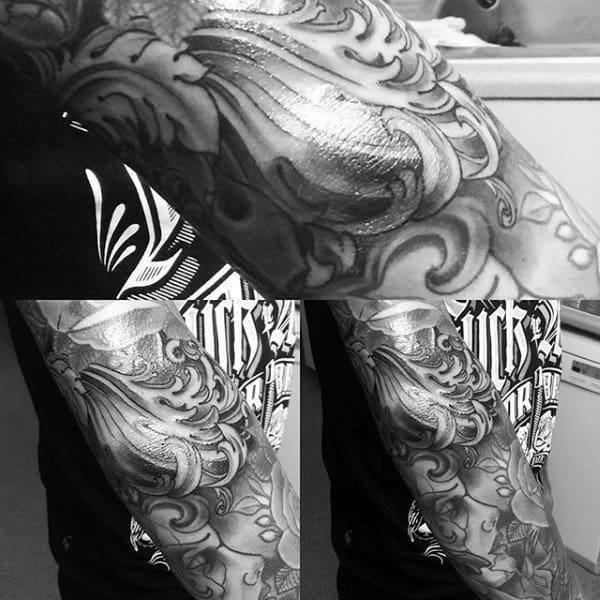 Scroll gentlemens elbow tattoo designs