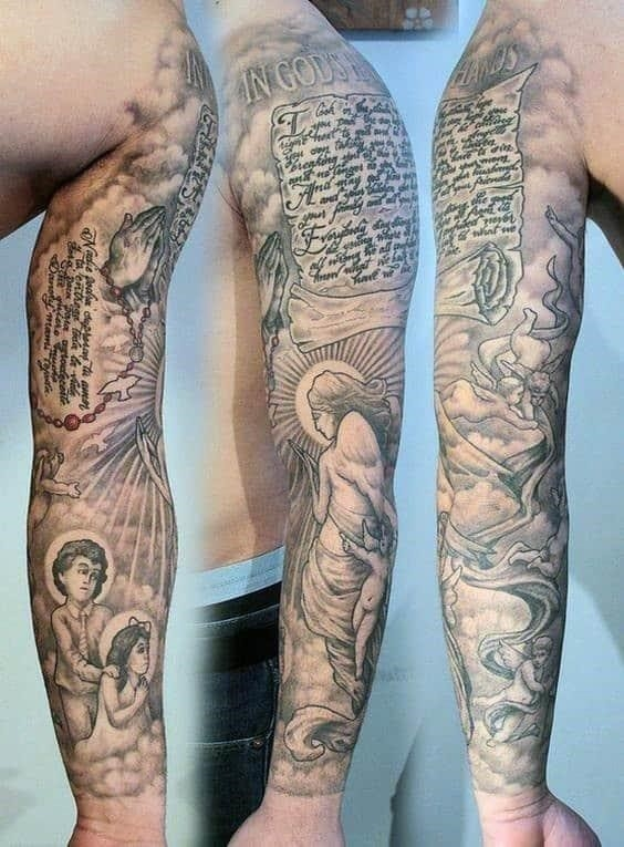 Scroll mens full sleeve religious tattoo designs