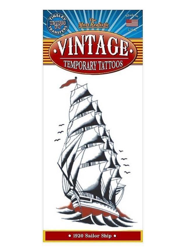 Segelschiff vintage klebe tattoo  mw 130096 1