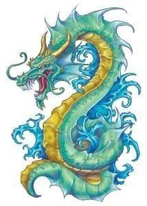 Serpentine dragon temporary tattoo