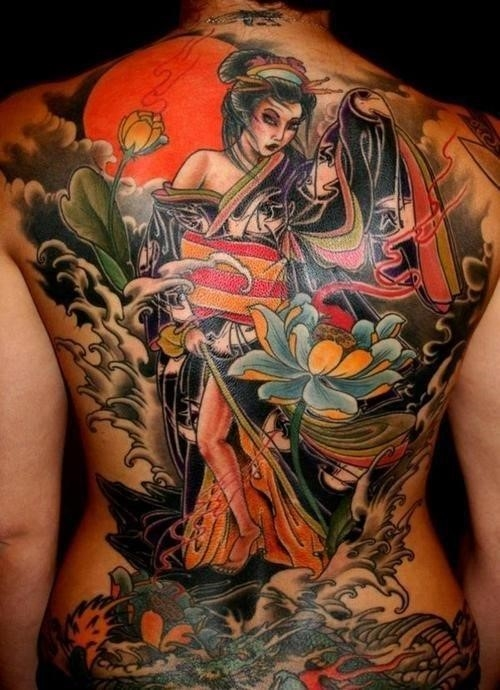 Sexy girls full back body tattoo asian arts