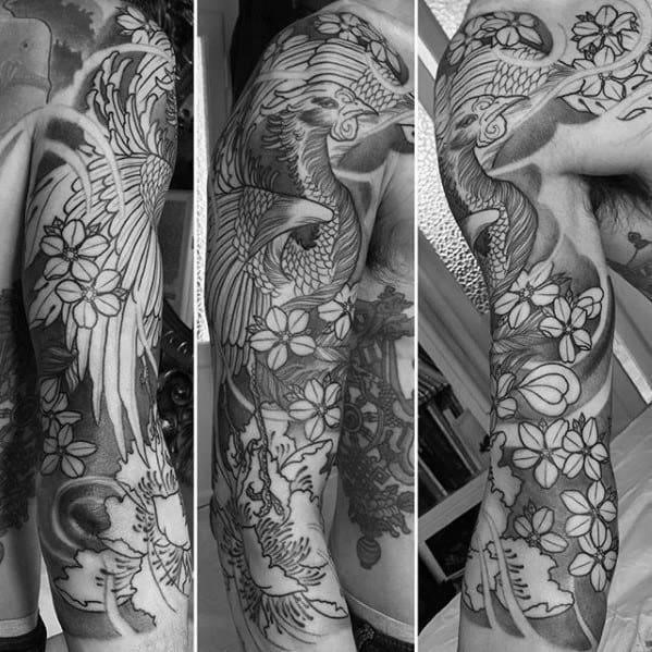 Shaded black and grey floral japanese phoenix half sleeve tattoo designs for men