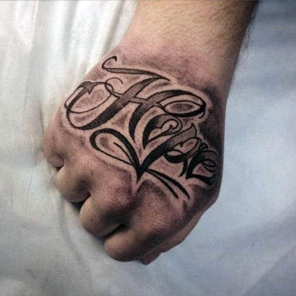 Shaded black and grey ink male hope hand tattoo ideas