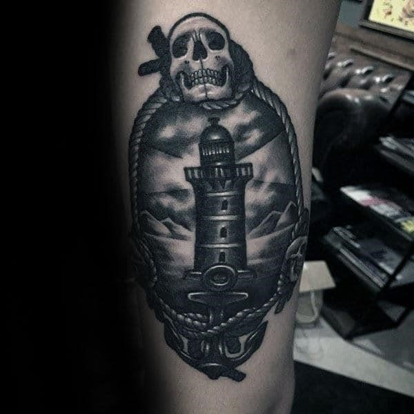 Shaded black and grey ink male traditional lighthouse tattoos