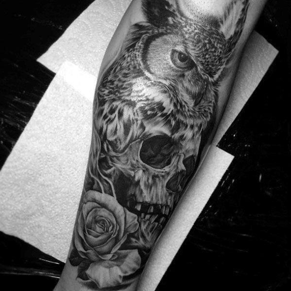Sharp owl skull male tattoo ideas