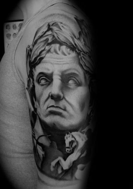Sharp roman statue male tattoo ideas