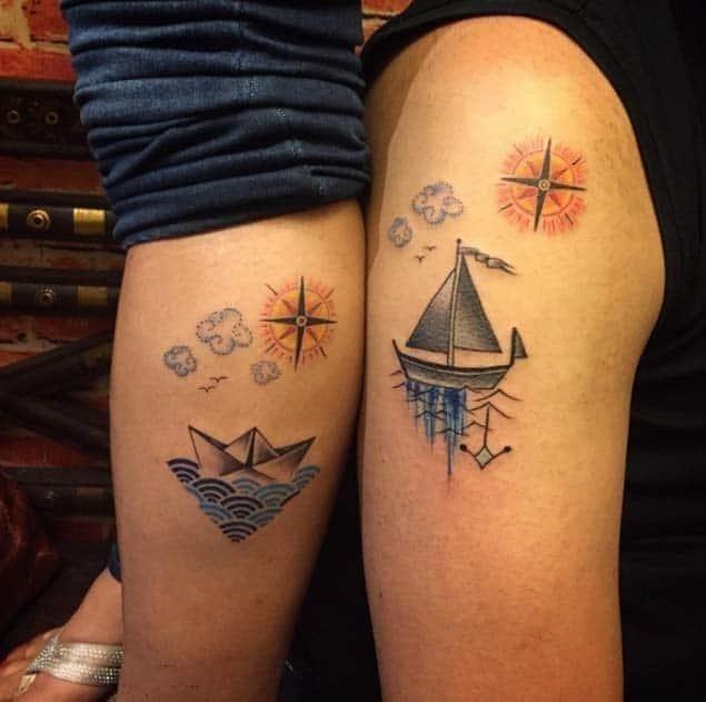 Ship couple tattoo designs