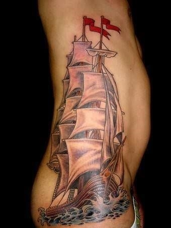 Ship tattoo on rib